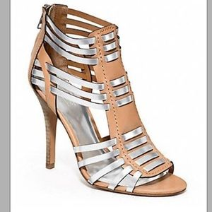 COACH Lucy Nude/Silver Vachetta Leather Caged Heel